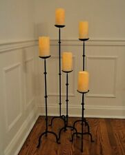 5 pc set FLOOR STAND CANDLE STICK PILLAR HOLDERS BLACK METAL