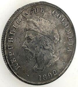 "COLOMBIA REPUBLIC 1892 50 CENTAVOS SILVER COIN ""COLUMBUS"" KM# 187.1 #3"