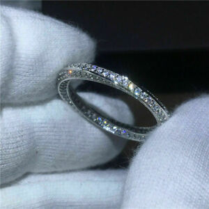 14K White Gold Finish 1.90Ct Round Moissanite Full Eternity Band Engagement Ring