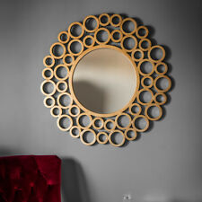 Wrakes Unique Gold Circles Design Extra Large Round Wall Mirror 118cm Diameter