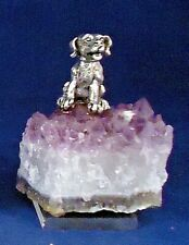 Pewter Rescue Dog on Amethyst Crystal Geode Rock -a3
