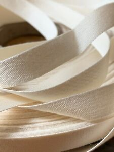 Natural Woven Off White 100% Cotton Ribbon Tape Binding 11mm - sold by the metre