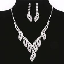 Fashion Women Lady Crystal Rhinestone Diamond Necklace Pendant Earrings Set UK