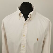 Ralph Lauren Vintage Shirt OXFORD RELAXED LOOSE 17 2XL White LIGHT SHADE OF PINK