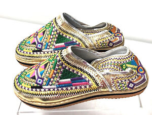 Moroccan Handmade leather Mule Gold Multicoloured Embroidered Berber Shoes 7.5