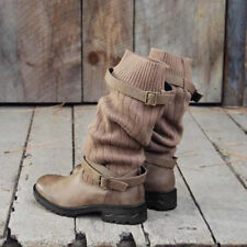 Women Combat Boots Mid-Calf Booties Buckle Low Heels Retro Fashion Sweater Shoes