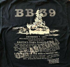 PEARL HARBOR 🔥USS ARIZONA BB-39 Navy LARGE T-Shirt Museum 12-07-41 WW2 WWII USN