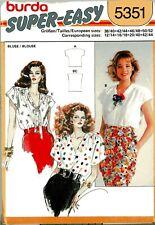 Misses Tops Blouse Burda Vintage Pattern 5351 Sz. 12 - 44  Easy Uncut Sealed