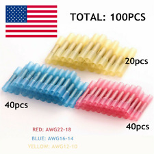 100Pcs Heat Shrink Butt Wire Electrical Crimp Connectors Awg 10-12 14-16 18-22