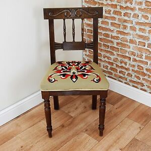 Antique late Victorian Medium Oak Carved Hall Chair Ecclesiastical Tapestry 1880