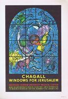 Marc Chagall Poster Windows Jerusalem Vintage Offset Lithograph 1966 Platesigned