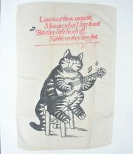 Vintage Kliban Cats Hand Towel Love to Eat Them Mousies Cat Playing Guitar, Used