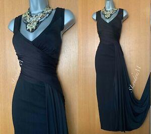 Karen Millen UK 12 Black Viscose & Jersey Draped Detail Cocktail Maxi Dress EU40