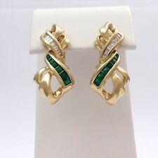 New 14k Gold Columbian Emeralds International Diamond Dangle Earrings