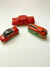Two Vintage Wind-Up Cars & 1 Vintage Wind Up Trolley (JH Toys) (Technofix)