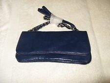 Nicoli navy blue soft leather bag, embossed crocodle . Clutch or carry, NWOT