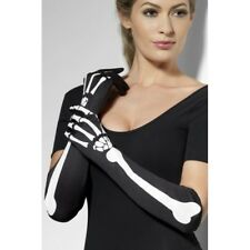 Skeleton Gloves Long Black White Skeleton Bone Print Ladies Fancy Dress