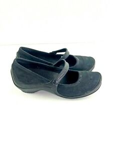 Crocs Womens Mary Jane Works Flats Size 8 Black Suede Blend
