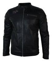 Mens Black Slim Fit Retro Vintage Casual Real Leather Biker Style Jacket Badges