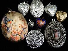 Vintage Silver & Gold Picture Photo Double Filigree Locket Pendant Charm Lot