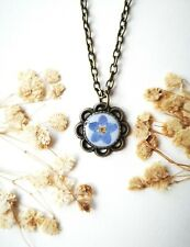Handmade forget me not necklace real pressed flower jewellery UK Christmas gift