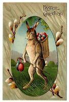 Standing Bunny Rabbit Big Basket Of Easter Eggs Cane ASB Germany antique postcar