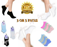 3 or 5 Pairs Womens Ladies Trainer Socks Sports Gym Ankle Plain Socks Size 4-7