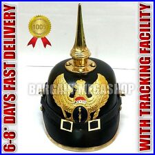 GERMAN LEATHER PICKELHAUBE PRUSSIAN WAR HELMET GARDE BADEN LONG SPIKE