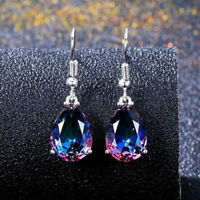 Elegant 925 Silver Jewelry Drop Earrings for Women Mystic Topaz A Pair/set