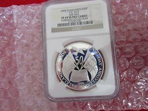 1995 Falklands S50P 50th Anniversary VE-Day .925 Silver Coin NGC PF69 KM-45A icg