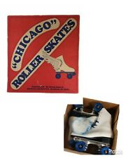 Vintage White Leather Pacer Roller Skates Women's size 7 Blue Wheels Lace Up