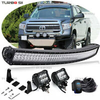 """For 05-18 Toyota Tacoma Upper Roof Windshield 50"""" Curved LED Light Bar Combo Kit"""