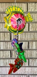 Hanging Folk Art Coconut Fish Hand Carved Mexico Home Tropical Wind Chime #02