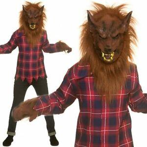 Boys Werewolf Costume + Mask Kids Hallwoeen Scary Wolf Fancy Dress Outfit