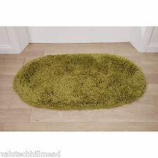 Think Rugs Rainbow Green Oval Shaggy Area Rug - 75 x 135 cm