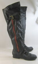 "Black 1"" Low Block Heel Long Sexy Faux Leather Over Knee Boots Size 6"