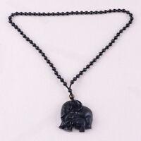 Elefanten Obsidian 60CM Amulett Halskette - 48mm GANESHA Anhänger Herren Kette