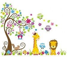 Rainbow Fox Jungle Owl Scroll Tree Wall Decor Sticker Woodland Animals Nursery