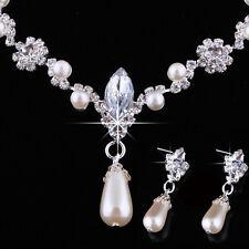 Fashion Wedding Faux Pearls Rhinestone Necklace Water Drop Earring Jewelry SetsF