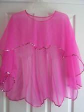 "NEW Hot Pink Sheer Dance Skirt - Mullet/Hi low, Pink Sequins - 22"" waist"