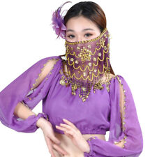 Purple Black Pink Red Women Charming Belly Dance Sequins Face Veil Fashion Mask