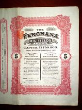Uzbekistan ,Ferghana Oil Fields Ltd share certificate London 1912    Fine