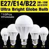 10Pcs 220V E27 B22 E14 Energy Saving LED Bulb Lamp 3-15W Cool Warm White Lights