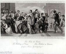 Le Nozze di Cana,di Paolo Veronese.Acciaio.Acier.Steel Engraving.STAHLSTICH.1850
