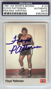 FLOYD PATTERSON AUTOGRAPHED SIGNED 1991 AW SPORTS BOXING CARD #124 PSA/DNA 96774