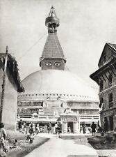 1934 Vintage 11x14 ~ Nepal ~ Boudhanath Stupa Architecture Photo Art ~ HURLIMANN
