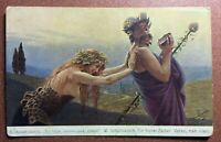 Tsarist Russia RICHARD postcard 1909s Satanic family. Drunk Faun and Nude Witch