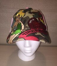 Disney Tinkerbell Womans Hat Cap Pink Camo Embroidered Sequin Heart Trucker Mesh