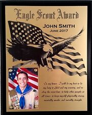 Eagle Scout Award - Laser engraved plaque, personalized with name and date