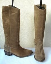 BOTTES ZARA BASIC DAIM MARRON NOISETTE CLOUS TALONS - T 38 - TTBE